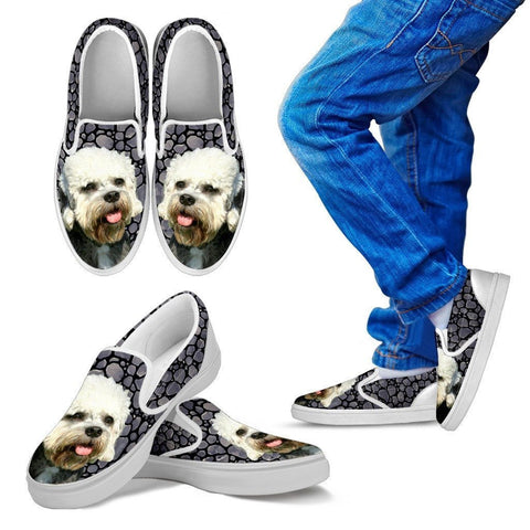 Dandie Dinmont Terrier Dog Print Slip Ons For Kids-Express Shipping
