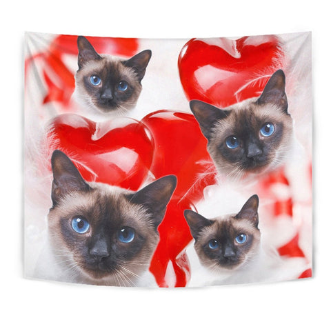 Cute Siamese Cat Print Tapestry-Free Shipping