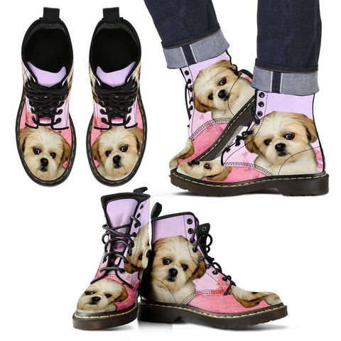 Shih Tzu Print Boots For Men-Express Shipping