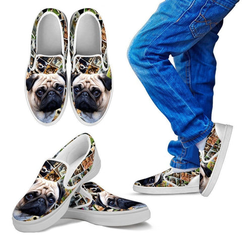 Amazing Pug Print Slip Ons For Kids-Express Shipping