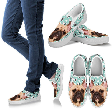 French Bulldog Print Slip Ons For Women- Express Shipping