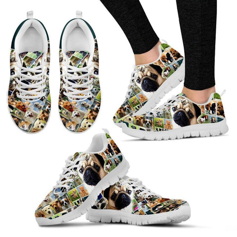 Lovely Pug Print-(Black/White) Running Shoes For Women-Express Shipping
