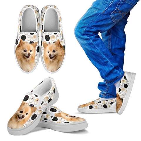 Pomeranian Dog Print Slip Ons For Kids-Express Shipping