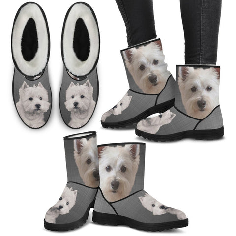 West Highland White Terrier Print Faux Fur Boots For Women-Free Shipping