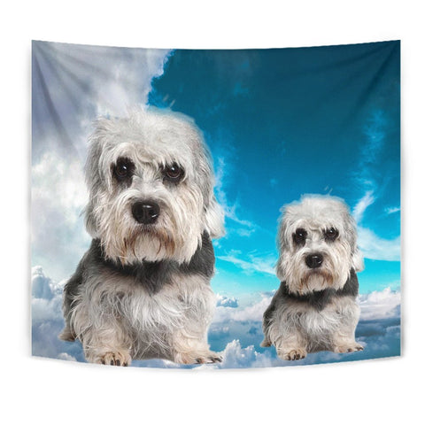 Dandie Dinmont Terrier On Sky Blue Print Tapestry-Free Shipping
