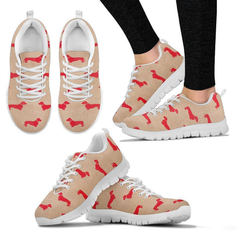 Dachshund Red Pattern Print Sneakers For Women- Express Shipping