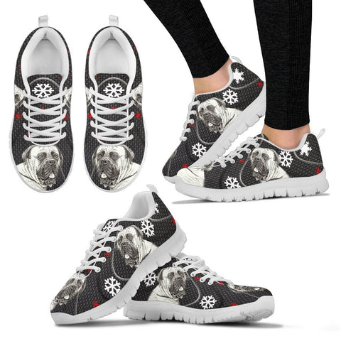 English Mastiff Dog Print Christmas Running Shoes For Women-Free Shipping