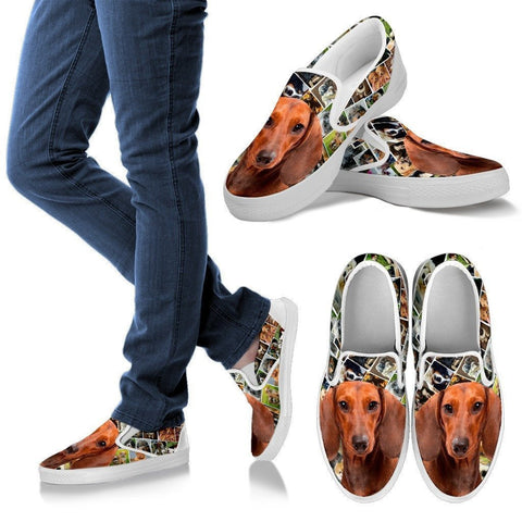 Amazing Dachshund Dog Print Slip Ons For Women-Express Shipping