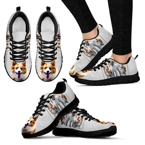 Customized Dog Print (Black) Sneakers For Womenn design by Siam Lie Liau-Free Shipping