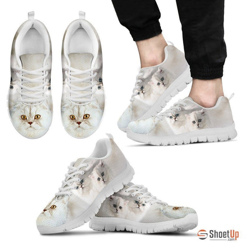 White Persian Cat Print Running Shoe For Men- Free Shipping
