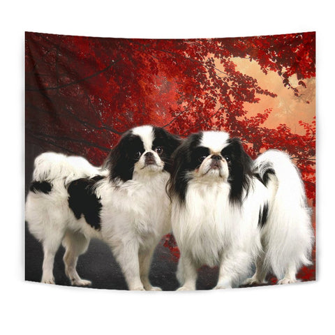 Japanese Chin On Red Print Tapestry-Free Shipping