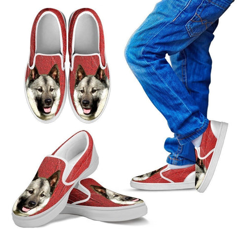 Norwegian Elkhound Dog Print Slip Ons For Kids-Express Shipping