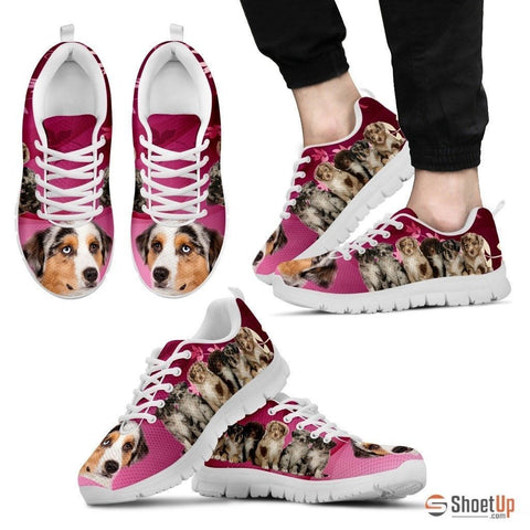 Miniature American Shepherd (Herding dog) Print Sneakers For Men(White)- Free Shipping