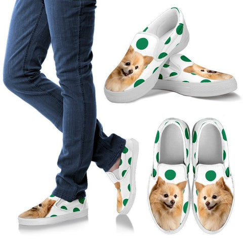Pomeranian Dots Print Slip Ons For Women-Express Shipping