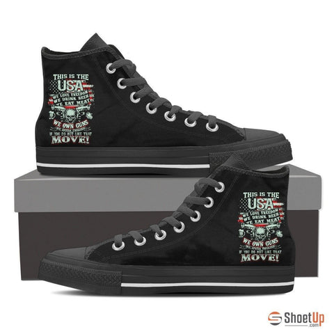 This Is The USA-We Own Guns-Women's Canvas Shoes-Free Shipping