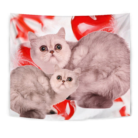 Exotic Shorthair Cat On Red Print Tapestry-Free Shipping