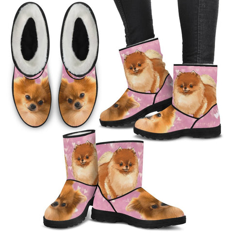 Pomeranian Print Faux Fur Boots For Women-Free Shipping