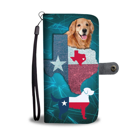 Lovely Golden Retriever Dog On Light Blue Print Wallet Case-Free Shipping-TX State