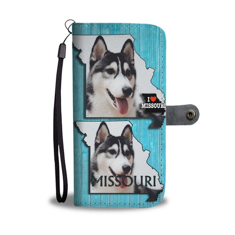 Siberian Husky Print Wallet Case-Free Shipping-MO State