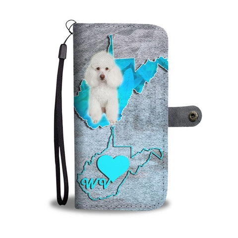 Cute Poodle Dog Print Wallet Case-Free Shipping-WV State