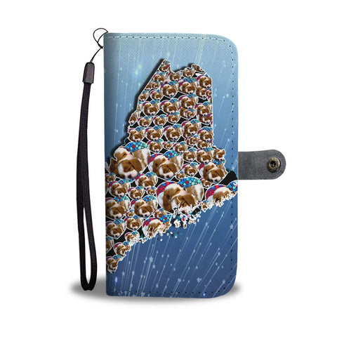 Cavalier King Charles Spaniel On Hearts Print Wallet Case-Free Shipping-ME State