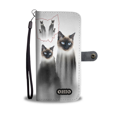 Siamese cat Print Wallet Case-Free Shipping-OH State
