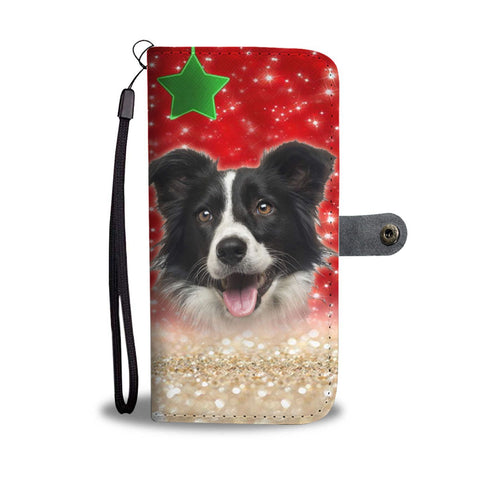 Border Collie On Christmas Print Wallet Case-Free Shipping