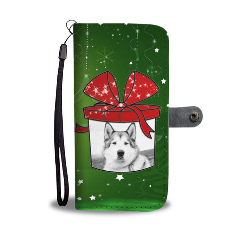 Alaskan Malamute Dog On Christmas Print Wallet Case-Free Shipping