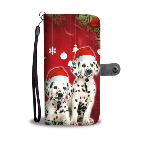 Cute Dalmatian Dog On Christmas Print Wallet Case-Free Shipping