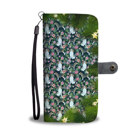Beagle Floral Christmas Print Wallet Case-Free Shipping