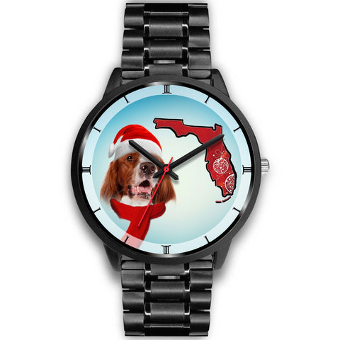 Irish Red And White Setter On Christmas Florida Wrist Watch-Free Shipping