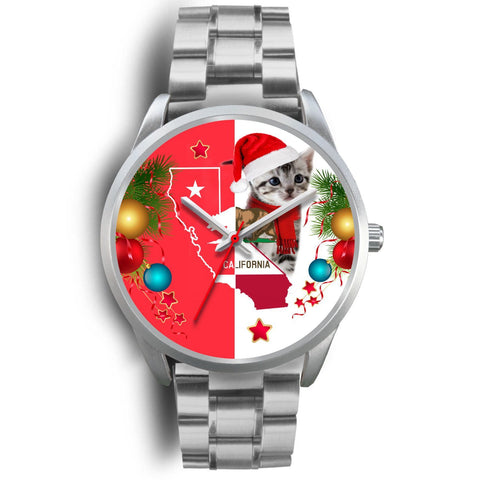 American Shorthair Cat California Christmas Special Wrist Watch-Free Shipping