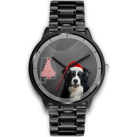 Border Collie On Christmas Alabama Wrist Watch-Free Shipping