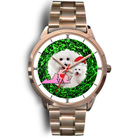 Cute Bichon Fries Dog Virginia Christmas Special Wrist Watch-Free Shipping