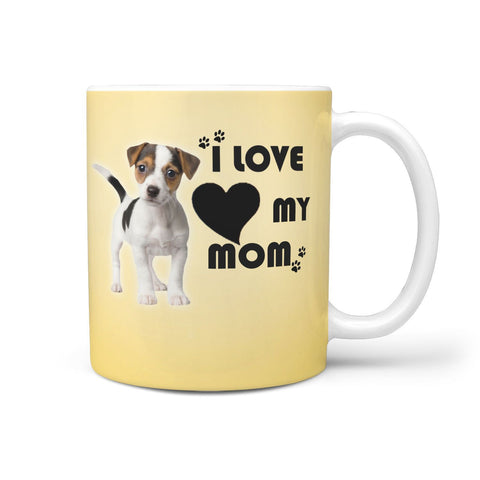 """ I Love My Mom"" Jack Russell Terrier Print 360 White Mug"