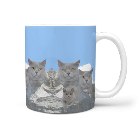 British Shorthair Cat Mount Rushmore Print 360 White Mug