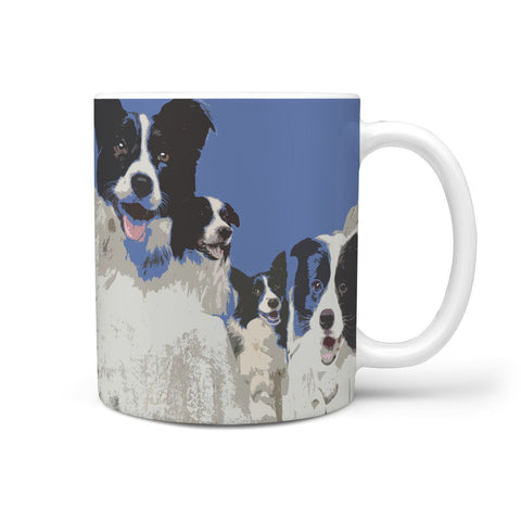 Border Collie Mount Rushmore Print 360 White Mug