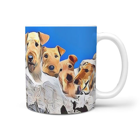 Airedale Terrier Mount Rushmore Print 360 White Mug