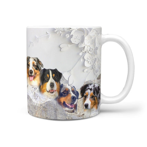 Lovely Australian Shepherd Dog Mount Rushmore Print 360 White Mug