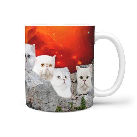 White Persian Cat Mount Rushmore Print 360 Mug