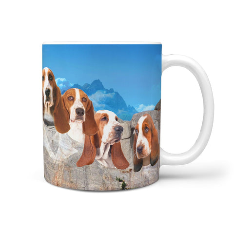 Basset Hound On Mount Rushmore Print 360 Mug