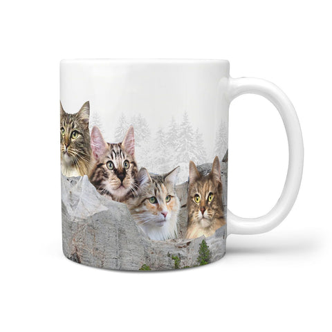 Norwegian Forest Cat On Mount Rushmore Print 360 Mug