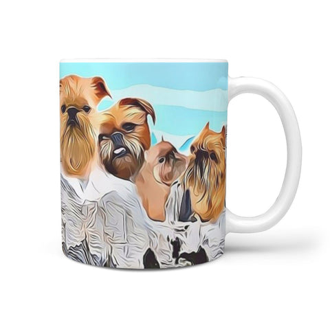 Brussels Griffon Dog Mount Rushmore Print 360 White Mug