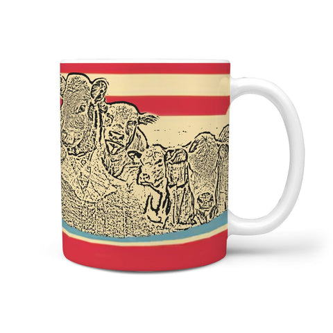 Hereford Cattle (Cow) Mount Rushmore Art Print 360 White Mug