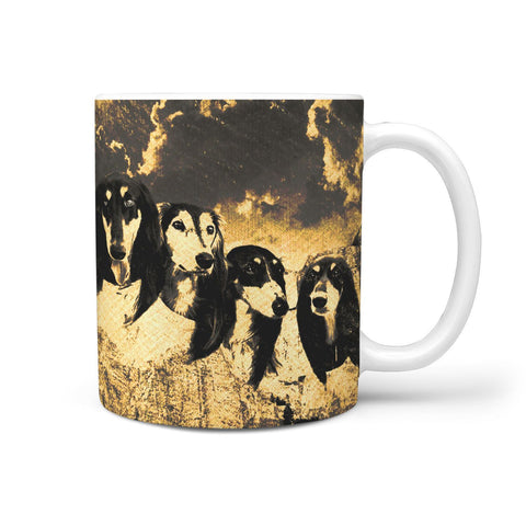 Black Saluki Dog Golden Art Mount Rushmore Print 360 Mug
