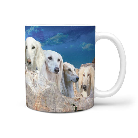 Amazing White Saluki Dog On Mount Rushmore Print 360 Mug