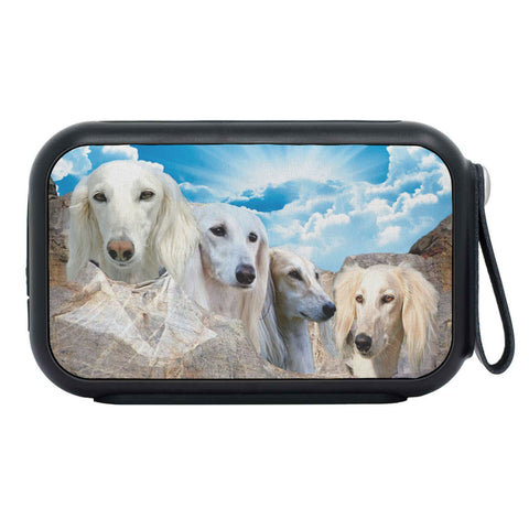 White Saluki Dog On Mount Rushmore Print Bluetooth Speaker