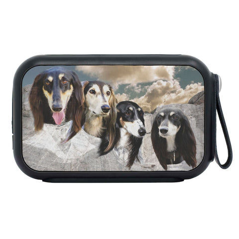 Black Saluki Dog On Mount Rushmore Print Bluetooth Speaker