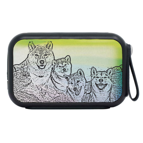 Shiba Inu Dog Mount Rushmore Print Bluetooth Speaker