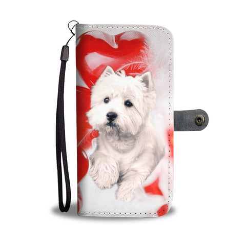 West Highland White Terrier On Red Print Wallet Case-Free Shipping